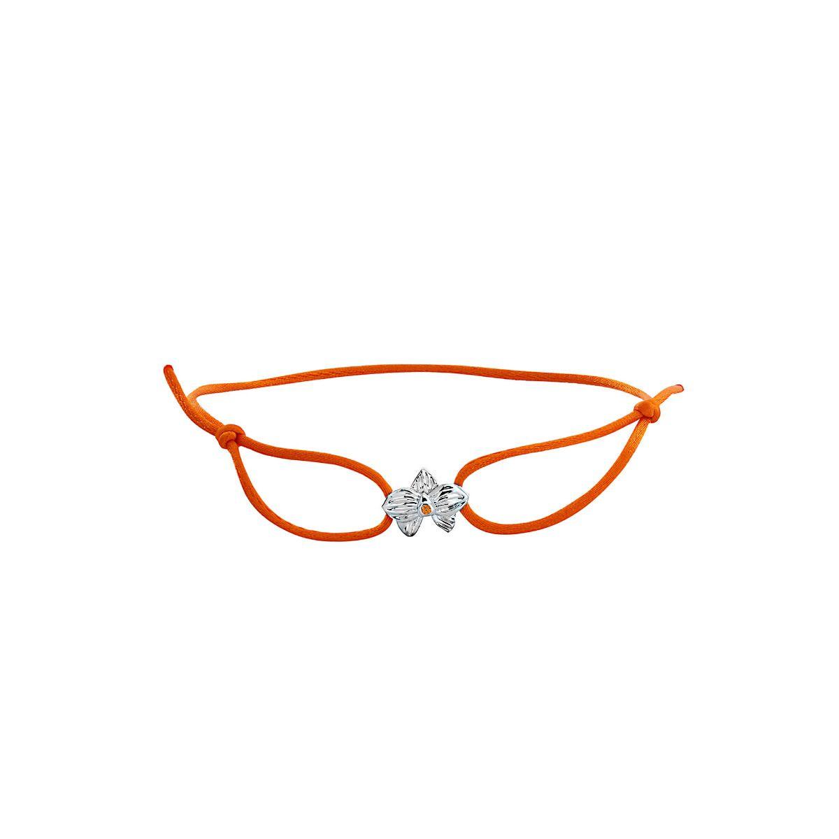 Allyn's Orchard Sterling Silver Orange Silk Cord Bracelet