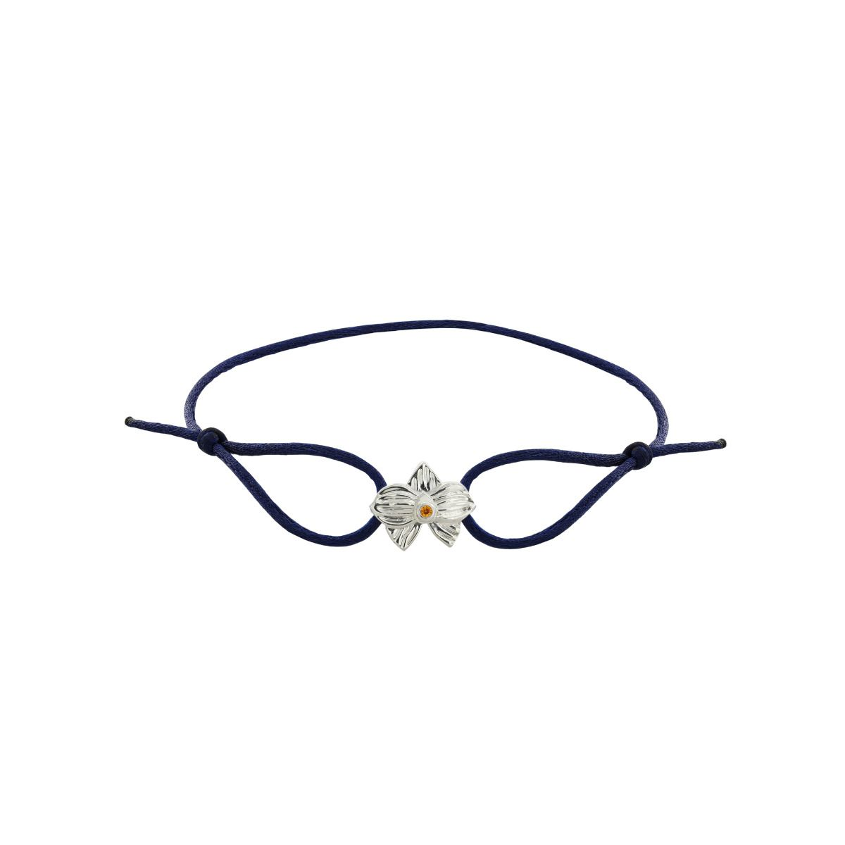 Allyn's Orchard Sterling Silver Blue Silk Cord Bracelet