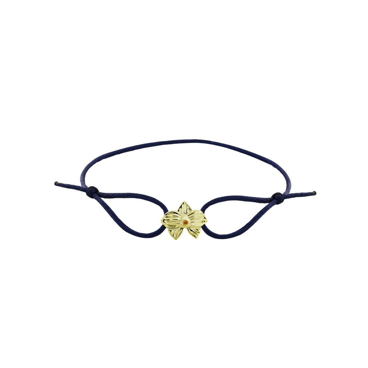 Hello Dolly Foundation Allyn's Orchid 14k Yellow Gold Blue Silk Cord Bracelet