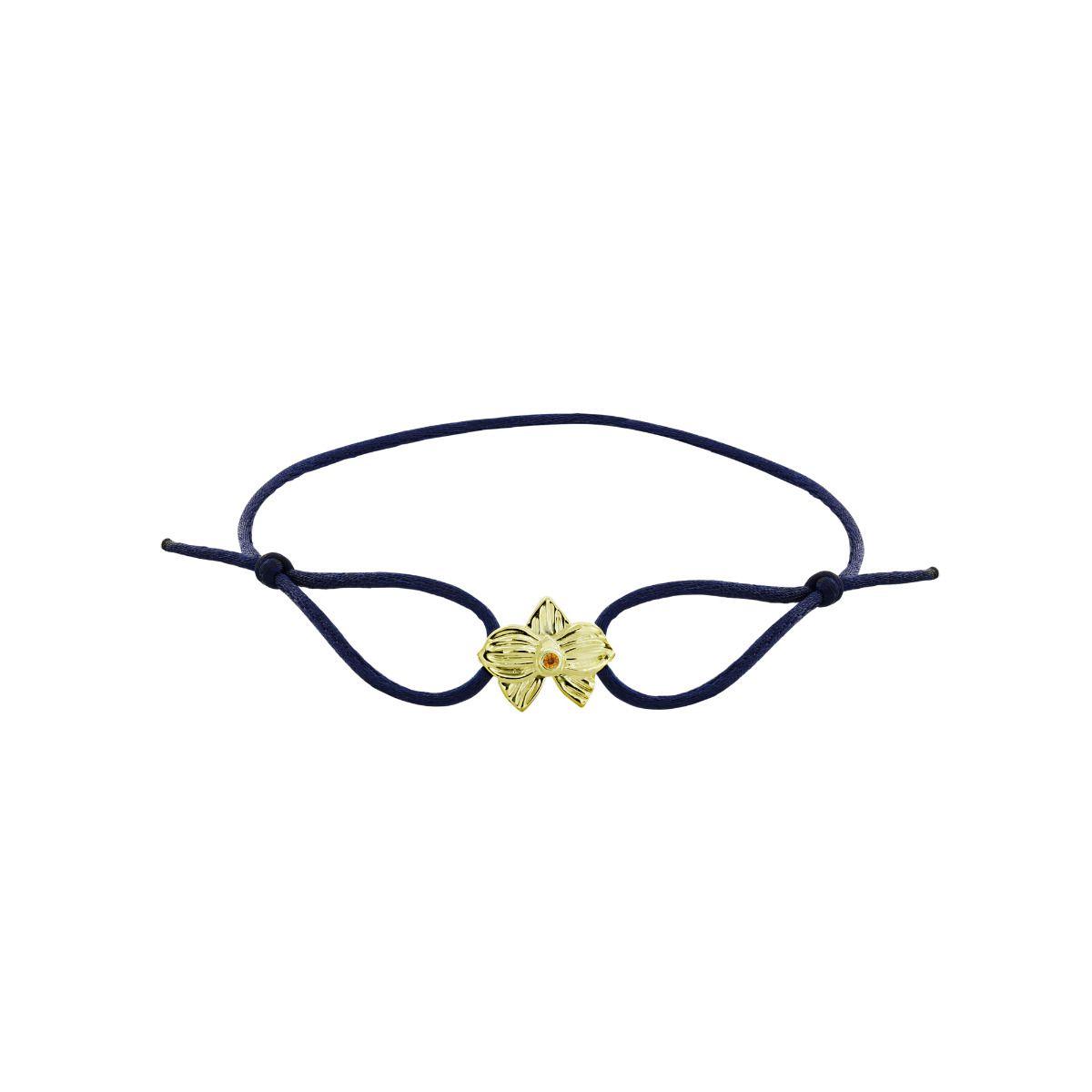 Allyn's Orchard 14k Yellow Gold Blue Silk Cord Bracelet