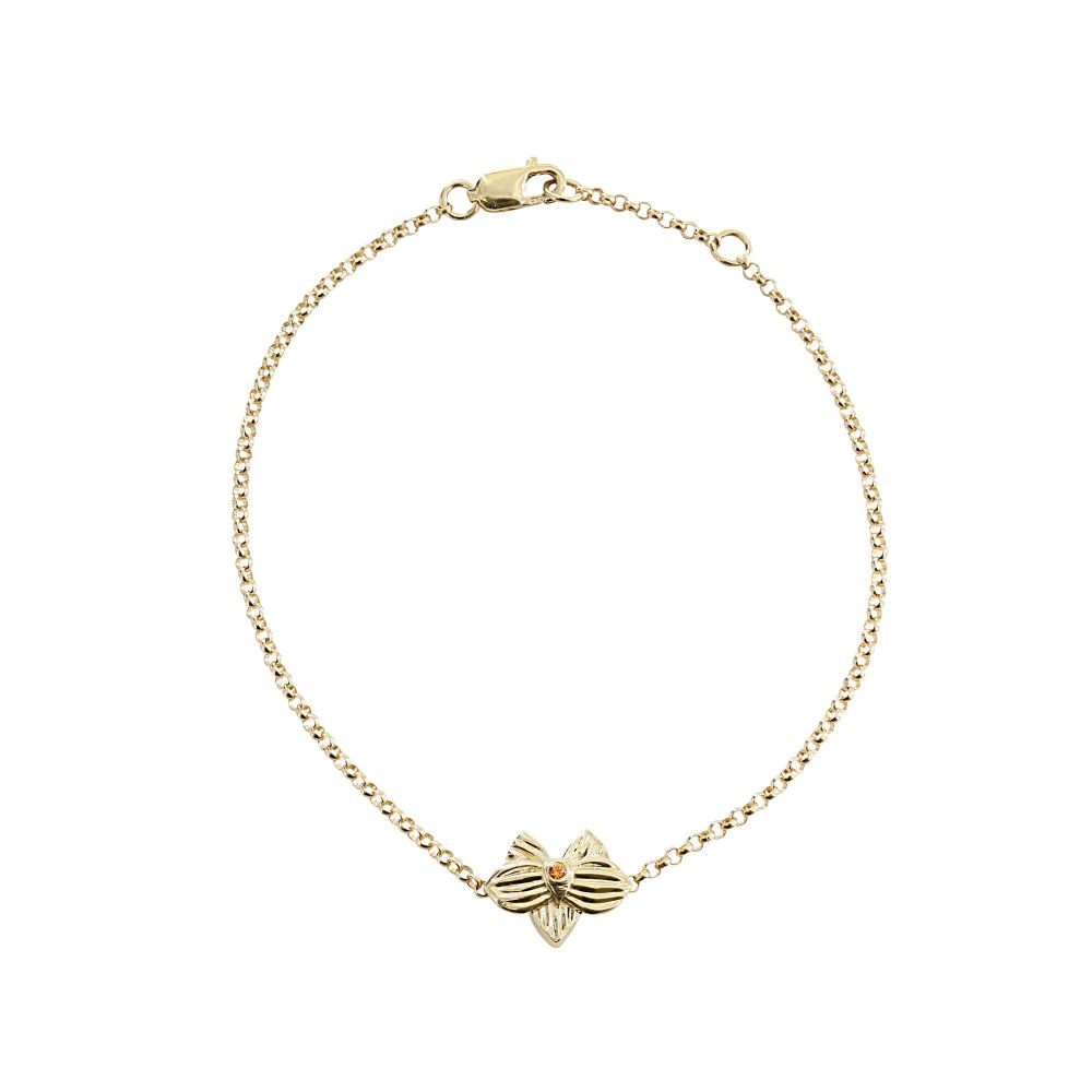 hello dolly 14k yellow gold allyn's orchid cz chain bracelet